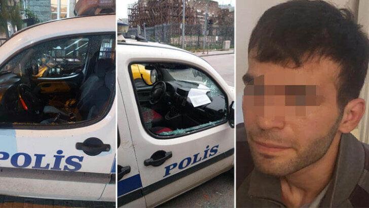 Akılalmaz olay! Tutuklanmak için polis otolarına saldırdı…