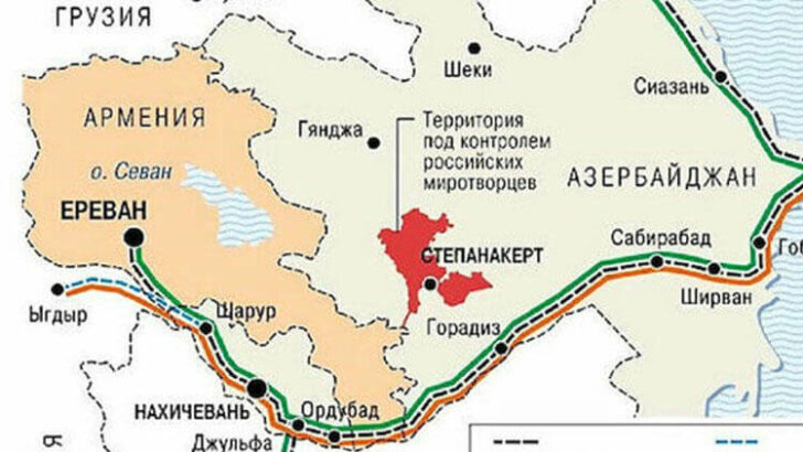 Azerbaycan ve Türkiye arasında kurulacak kara bağlantısını gösteren harita yayınlandı