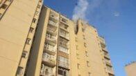 Apartmanın 9. katında çıkan yangında ev sahibi yaralandı