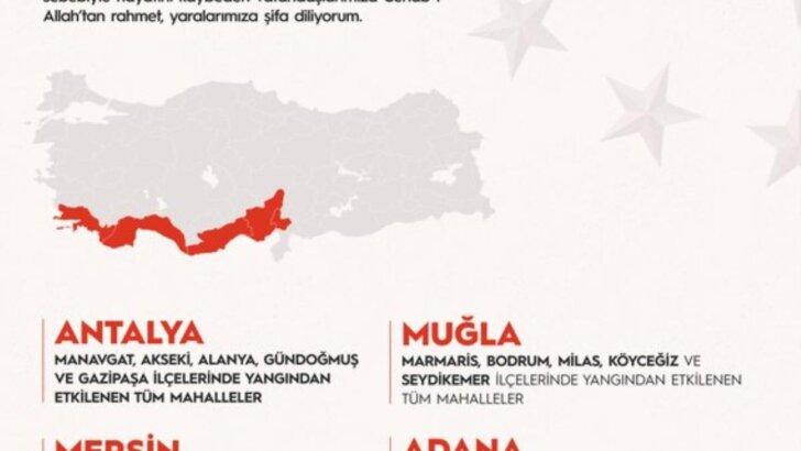 Erdoğan, orman yangınlarından etkilenen alanların 'Genel Hayata Etkili Afet Bölgesi' ilan edildiğini bildi…