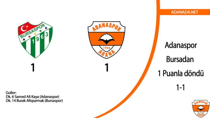 Adanaspor, Bursadan 1 Puanla döndü : 1-1