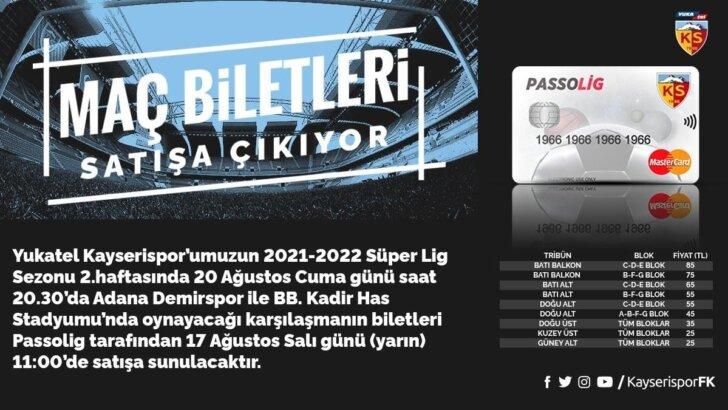 Kayserispor Adana Demirspor maçı biletleri satışa çıkıyor