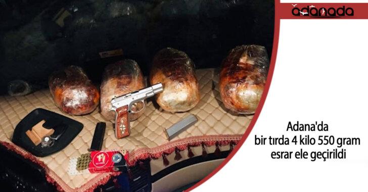 Adana'da bir tırda 4 kilo 550 gram esrar ele geçirildi