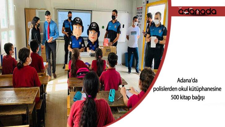 Adana'da polislerden okul kütüphanesine 500 kitap bağışı